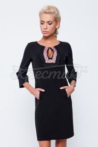 Черное платье с окошком-вырезом и украинским орнаментом купить Киев