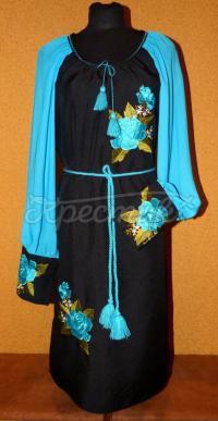 """Купить женское вышитое платье """"Голубой топаз"""""""