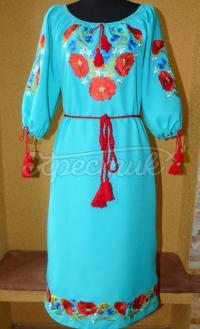 "Українське вишите плаття ""Небо над полем з маками"" фото"