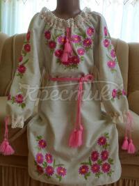 """Детское вышитое платье """"розовые ромашки"""" купить"""