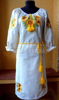 """Вышитое украинское платье """" Подсолнухи как солнце"""" фото"""