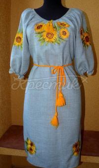 """Женское вышитое платье """"подсолнухи на поле"""" заказать"""