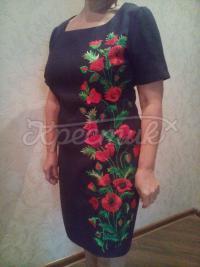 """Авторское вышитое платье """"Блек опиум"""" фото Крестик Киев"""