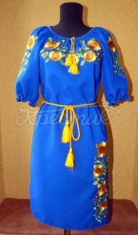 """Синє вишите українське плаття """"мрії про сонце"""" фото"""