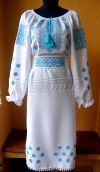 """Українське плаття з вишивкою """"аквамарин"""" купити"""