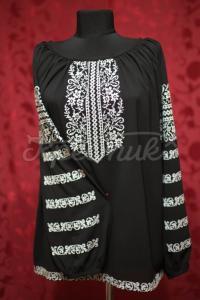 Женская вышиванка черная с белой вышивкой