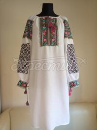 """Вишита жіноча сукня в українському стилі """"Багатоколірні рози"""" фото"""