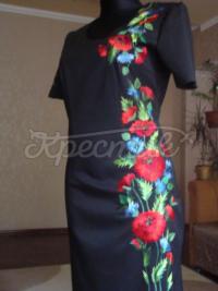 """Чорна класична вишита сукня """"Маки і васельки"""" фото хрестик"""