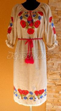 """Українське плаття з вишивкою """"Червоні маки"""" фото"""