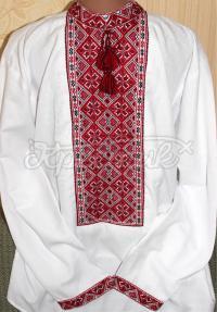 Чоловіча вишиванка червоно-чорна хрестиком