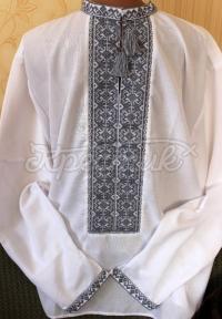 Чоловіча вишиванка ручної роботи з сірою вишивкою