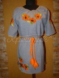 """Вышитое украинское платье """"солнечные цветы"""" купить"""