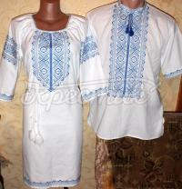 """Вышиванки для пары """"Голубые снежинки"""" фото"""