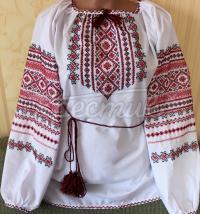 Женская вышиванка на поплине с красно-черной вышивкой
