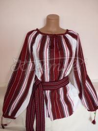 Женская вышиванка тканая красная