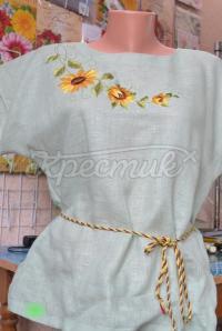 """Женская блузка вышиванка мятного цвета """"Подсолнухи"""" фото"""