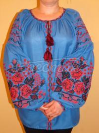 """Синяя женская вышиванка """"Дерево роз"""" фото Крестик Киев"""