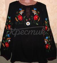 Шифоновая черная вышиванка с яркими цветами