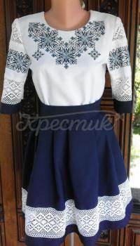 """Жіночий костюм з вишивкою """"Ніжність мережива"""" з красивою синьою спідницею! фото"""
