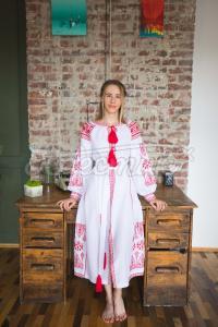"""Вышитое женское платье """"Красное пламя"""" фото"""