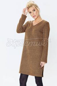 Оригінальна сукня коричневого кольору з V-образним вирізом фото
