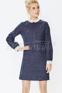 Пряме плаття з відкладним коміром з вовняної байки фото