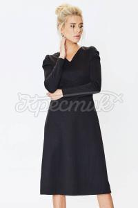 Черное классическое платье с трикотажа фото
