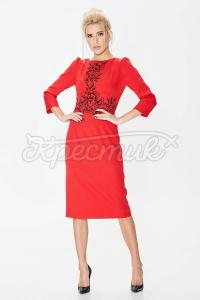 Сукня з костюмної тканини з принтом фото