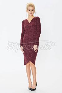 Бордове плаття з меланжевого трикотажу фото