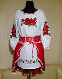 """Платье вышиванка на девочку с красной юбкой """"Маки"""" фото"""