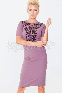 Обтягуюча сукня середньої довжини з щільної костюмної тканини фото