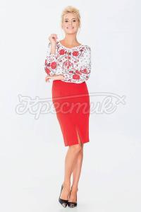 Модна спідниця-олівець з щільної костюмної тканини червоного кольору фото