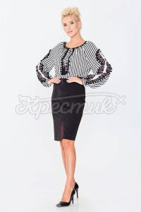 Нарядна блуза в смужку з креп-шифону фото