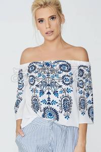 Блуза з креп-шифону з відкритими плечима фото