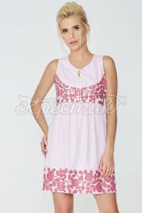 Жіночне плаття рожевого забарвлення з сатину фото