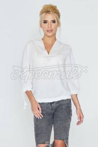 Блуза з костюмної тканини з V-подібним вирізом фото