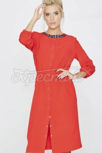 Червона сукня з ніжним дрібним принтом фото