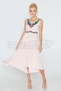 Рожеве плаття з цветочним принтом фото