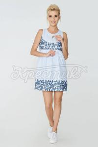 Жіночне плаття блакитного забарвлення з сатину фото