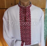 Вышиванка украинская мужская с красным орнаментом - фото