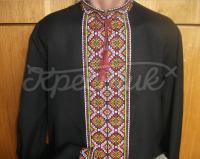 Вышиванка украинская мужская длинный рукав на черном