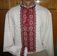 Купити чоловічу вишиванку з червоною вишивкою