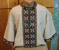 Мужская вышиванка лен с коротким рукавом