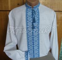 Белая мужская вышиванка с голубой вышивкой заказать