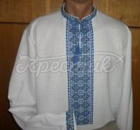 Мужская вышиванка для мужчин голубой орнамент