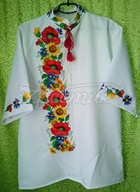 Купити чоловічу вишиванку з маками Київ
