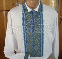 """Чоловіча вишиванка """"Подоляночка"""" з блакитною вишивкою купити"""