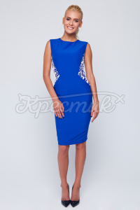 Синє плаття в українському стилі з орнаментом фото