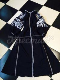 """Жіноча сукня бохо на темно-синьому льоні """"Цариця"""" фото"""