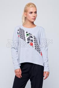 Сірий жіночий світшот в укрстиле з орнаментом по діагоналі фото